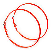 Large Bright Orange Enamel Flat Hoop Earrings In Silver Tone - 60mm Diameter