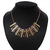 Brushed/Polished Gold Bar Necklace - 38cm Length/ 8cm Extension