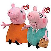 Ty Beanie Peppa Pig Mummy and Daddy Buddy Soft Toys