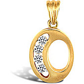 Jewelco London 9ct Gold CZ Initial ID Personal Pendant, Letter O - 1.5g