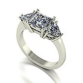 18ct White Gold Square Brilliant and Trillions Moissanite Trilogy Ring