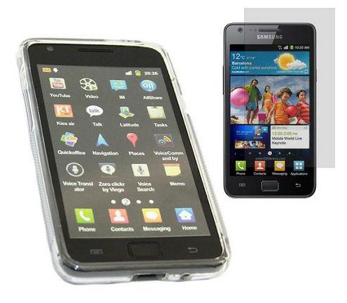 iTALKonline Twin Pack WAVE Case and LCD Screen Protector - For Samsung i9100 Galaxy S II S2