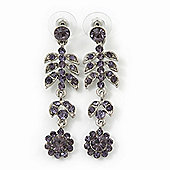 Delicate Amethyst Crystal Floral Drop Earrings In Rhodium Plating - 5.5cm Length