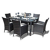 Bermuda Outdoor Brown Rattan Garden Dining Set - Seats 6