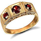 9ct Solid Gold men's Garnet set 3 stone trilogy Ring