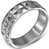 Urban Male Polished Stainless Steel Studded 7mm Band Ring