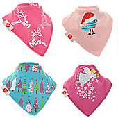 Zippy Boxed Gift Set of 4 Fun Bandana Dribble Bibs - Christmas Pinks