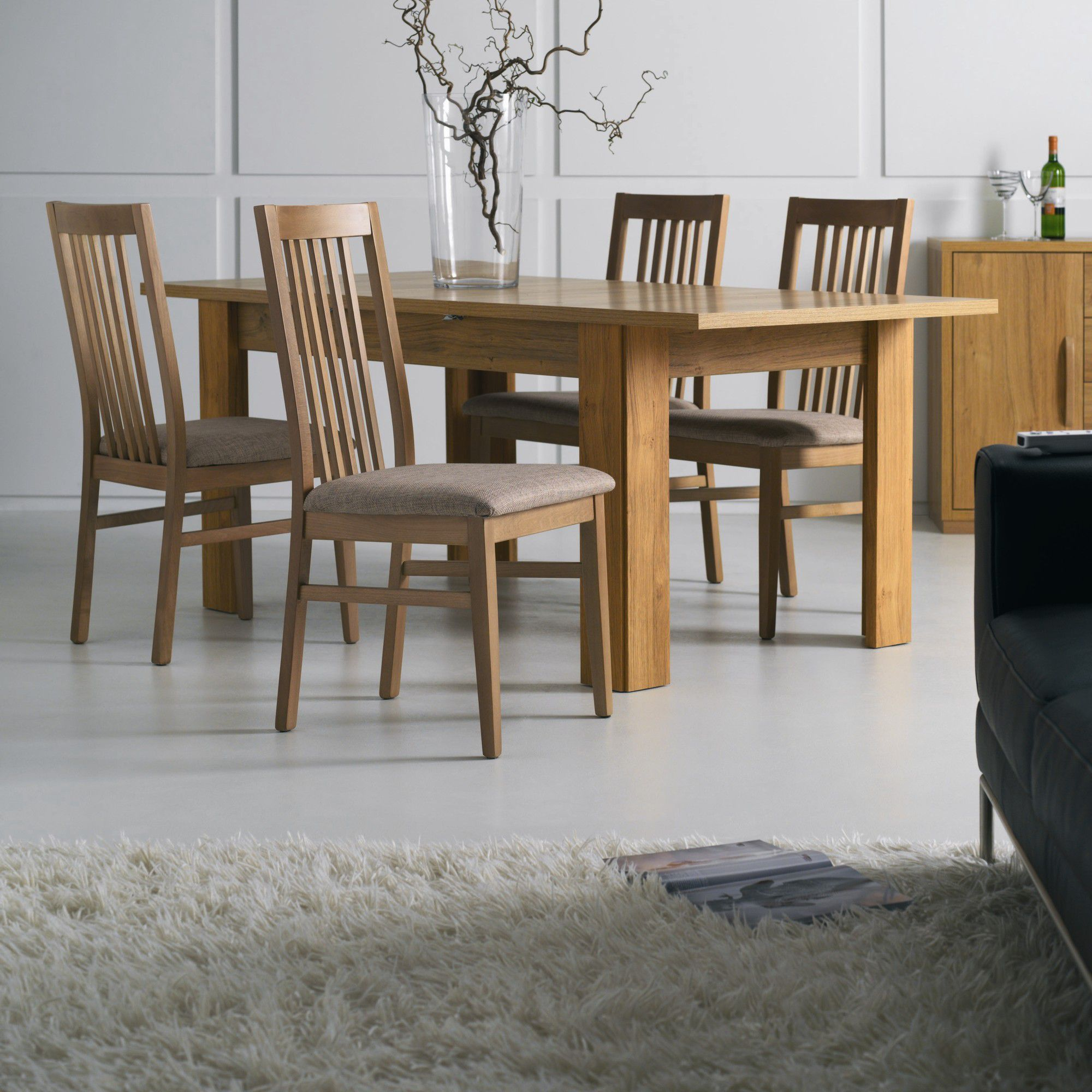 Caxton Strand Dining Set with 4 Slatted Back Dining Chairs in Oak - Mushroom at Tesco Direct