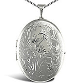 Jewelco London Rhodium Coated Sterling Silver Oval floral Locket Pendant - 18 inch Chain