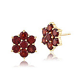 Gemondo 9ct Yellow Gold 1.76ct Garnet Round Floral Cluster Stud Earrings