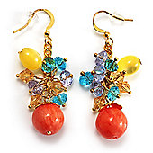 Multicoloured Bead Drop Earrings (Gold Tone)