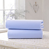 Clair de Lune Fitted Cotton Interlock Sheets - Cot (Blue)