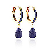 QP Jewellers 7.80ct Sapphire Droplet Huggie Earrings in 14K Gold