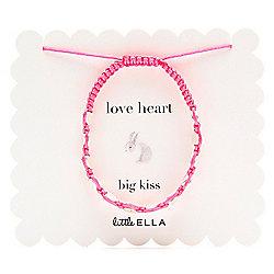 Little Ella Pink Cord Silver Heart Bracelet