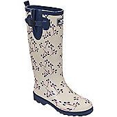 Trespass Ladies Elena Printed Wellington Boot - Cream
