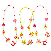 Bigjigs Toys BJ127 Snazzy Wooden Necklaces (Pack of 3 - Designs Vary)
