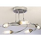 The Lighting & Interiors Group Iris Five Light Semi Flush Mount - Polished Chrome - Glass