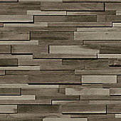 Muriva Thin Wood Blocks Wallpaper - Grey