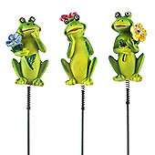 Set of Three Bouncy Resin Frogs on Sticks Garden Ornaments