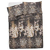 Tesco Leopard Print Duvet Cover And Pillowcase Set, - Gold & Black