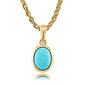 Gemondo 9ct Yellow Gold 0.86ct Turquoise Classic Framed Oval Pendant