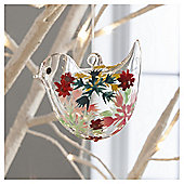Gisela Graham Glass Bird Snowflake Design Hanging Decoration