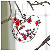 Gisela Graham Glass Bird Snowflake Design Hanging Decoration