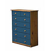 5 + 2 Chest of Drawers in Antique and Blue