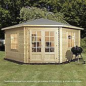 13ft x 13ft (4m x 4m) Corner Log Cabin (Double Glazing) + Large Windows 28mm