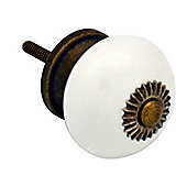 Ceramic Cupboard Drawer Knob - White