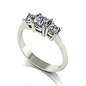 9ct White Gold 3 Stone Cushion Moissanite Ring.