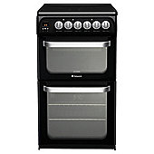 Hotpoint HUE52KS, Black, Electric Cooker, Double Oven, 50cm