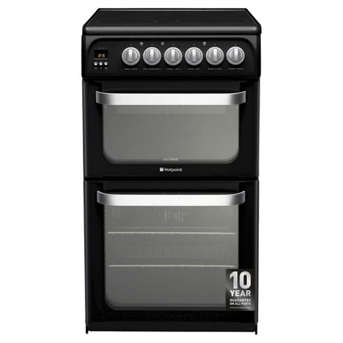 Hotpoint HUE52KS, Ultima, Freestanding, Electric Cooker, 50cm, Black, Twin Cavity, Double Oven