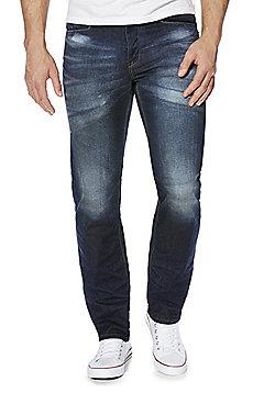 F&F Pocket Trim Dark Wash Premium Cotton Straight Leg Jeans - Dark wash