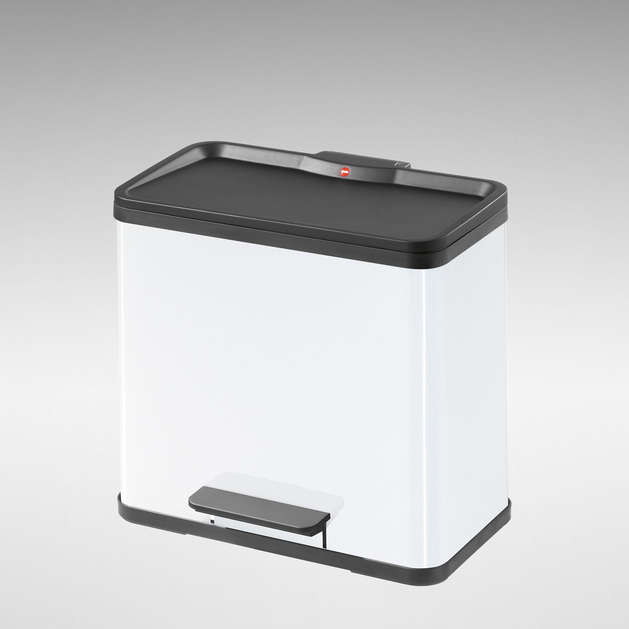 3 x 11L White Steel Pedal Waste Bin - 3 Compartments