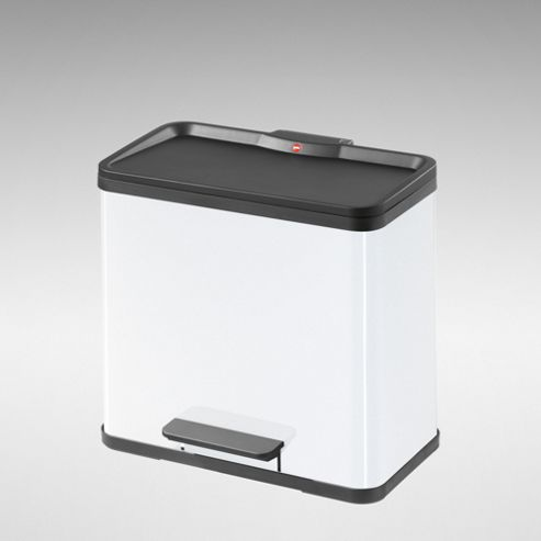 Hailo 3 x 11L White Steel Pedal Waste Bin - 3 Compartments