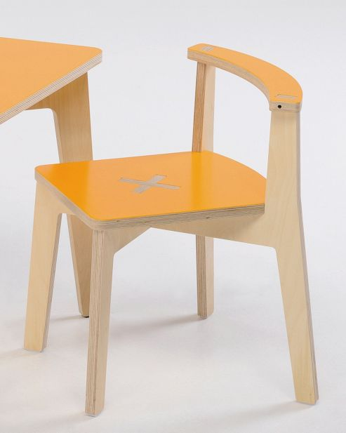 Foppapedretti Bambino Legno Misiedo Chair in Natural / Orange