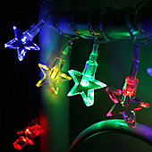 10 Multi Coloured LED Star Battery Fairy Lights