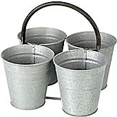 Parlane Rustic Metal Grey Set of Four Plant Pots With Handle - 23 x 24cm
