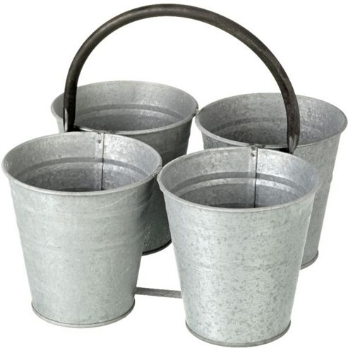 buy parlane rustic metal grey set of four plant pots with. Black Bedroom Furniture Sets. Home Design Ideas