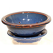 Cookware Essentials Terracotta 24cm Salad Bowl with Plate in Blue