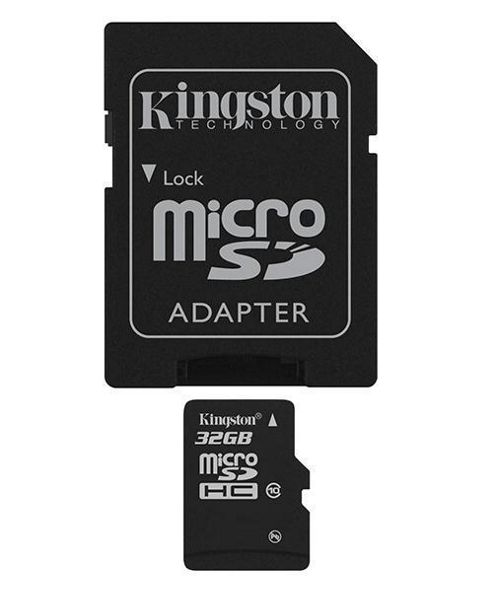 Kingston microSDHC 32GB Class 10 Card + SD Adapter