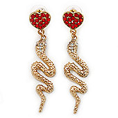Exquisite Snake With Red Crystal Heart Drop Earrings In Gold Plating - 7cm Length