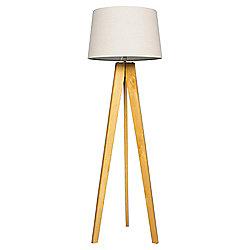 Tesco Tripod Floor Lamp, Light Natural/Linen Shade