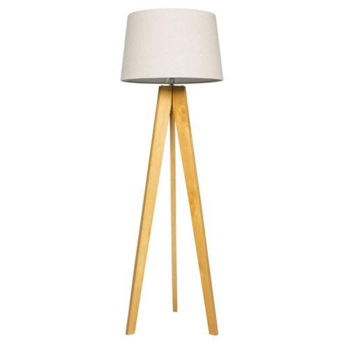 buy tesco tripod floor lamp light natural linen shade. Black Bedroom Furniture Sets. Home Design Ideas
