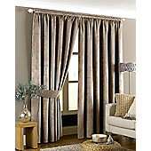 Riva Home Imperial Velvet Woven Pencil Pleat Lined Curtains, Taupe, 90 x 72 Inch