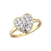 Sterling Silver Cubic Zirconia Ring overlaid with Gold