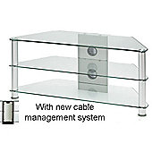 JF001 SC Large Glass Corner TV Stand - Silver Legs with Clear Gl