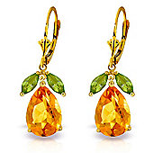 QP Jewellers Peridot & Citrine Pear Drop Earrings in 14K Gold