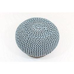 Kaikoo Chunky Knit Pouffe, Blue